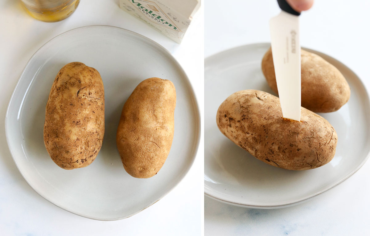 russet potatoes with knife piercing one to vent
