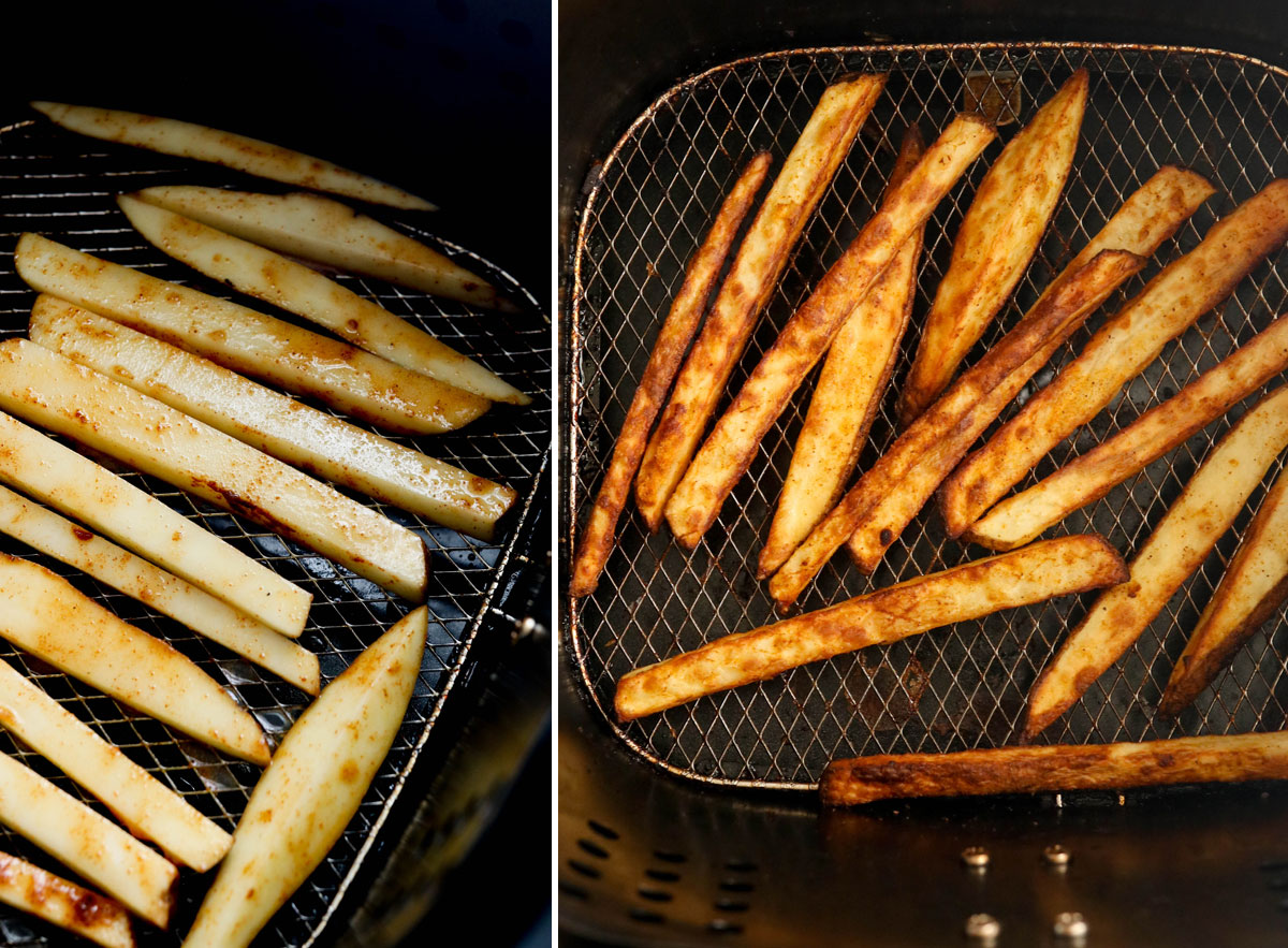 french fries in air fryer basket