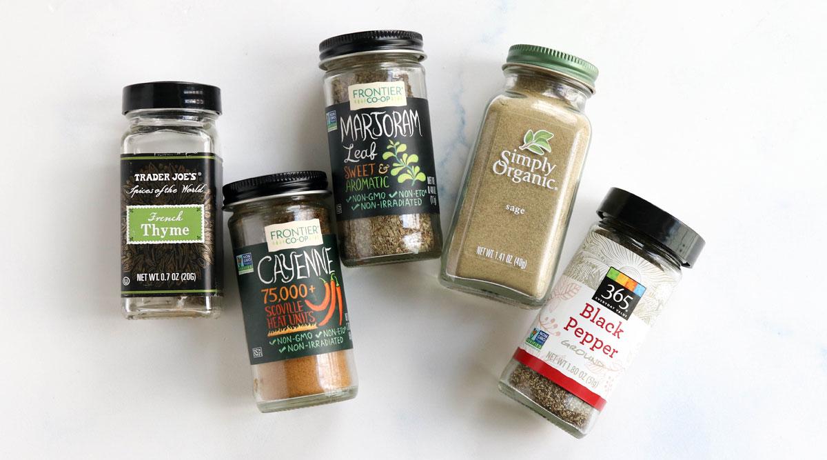 spice jars used in poultry seasoning