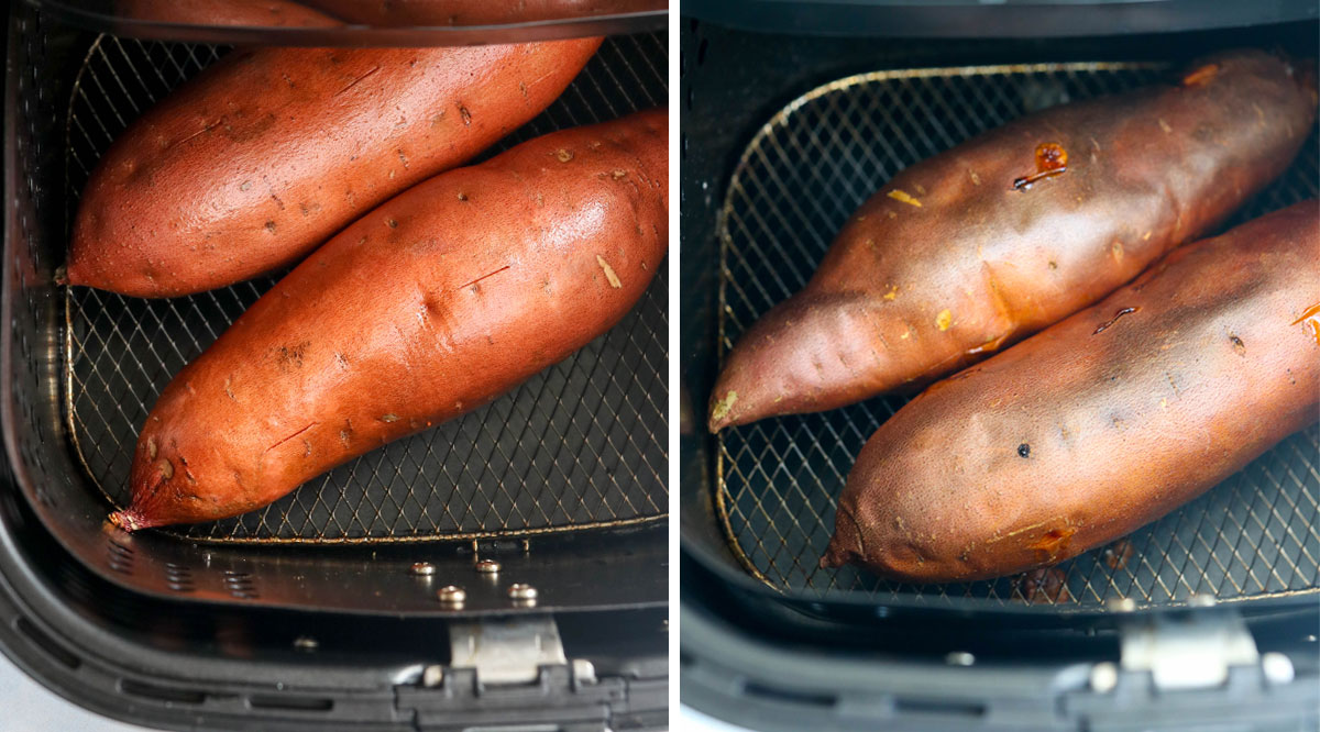 air fryer baked sweet potato with butter on it