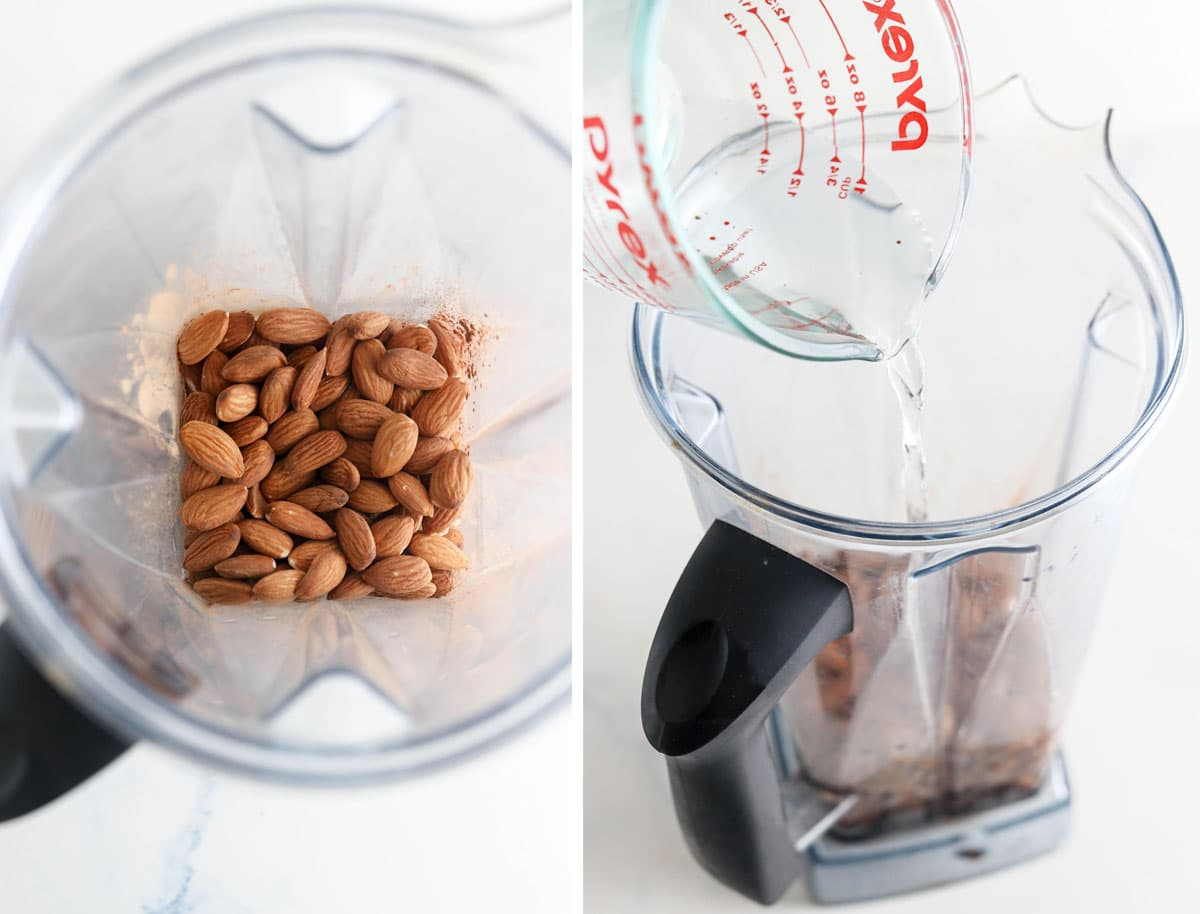 almonds and water going into blender