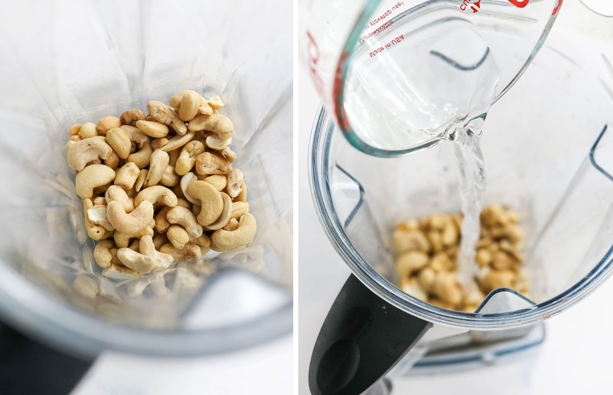 cashews and water in blender