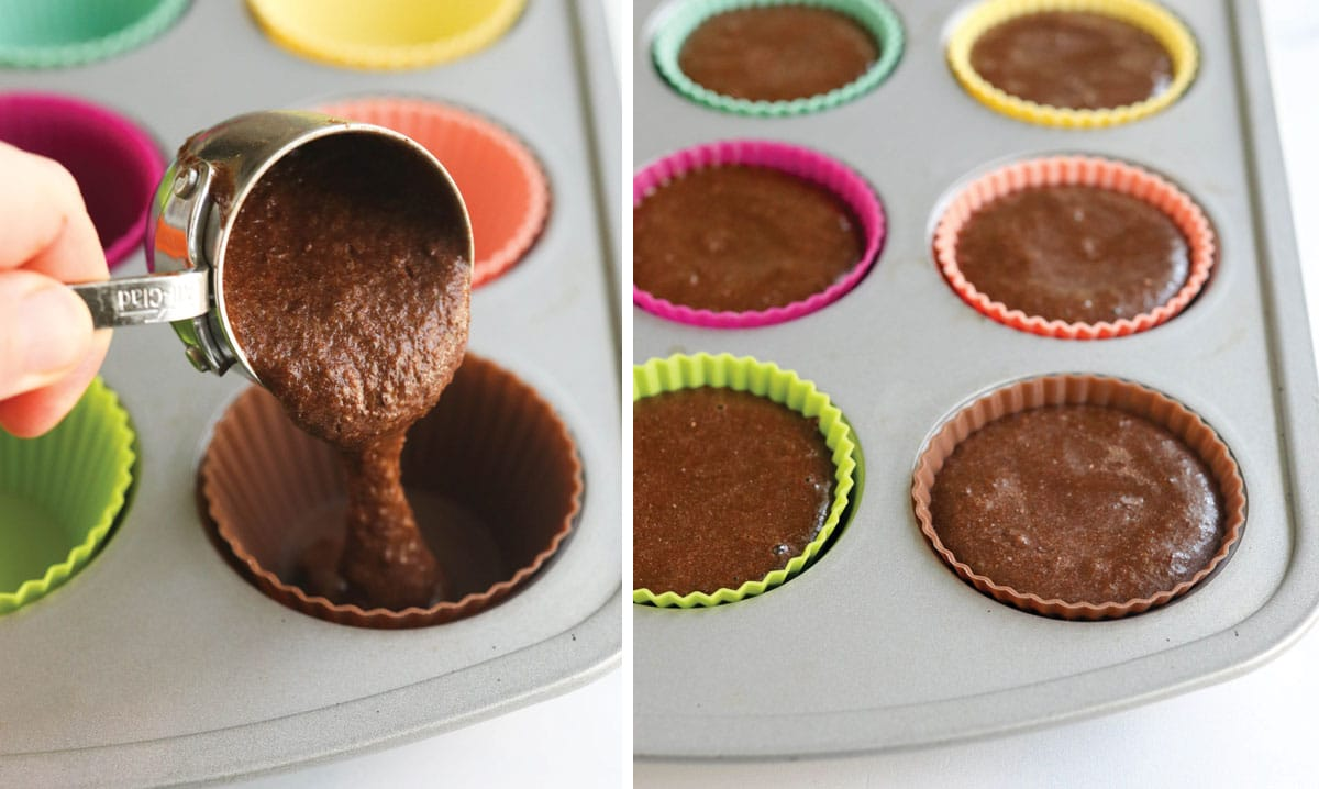 batter being poured into muffin tin