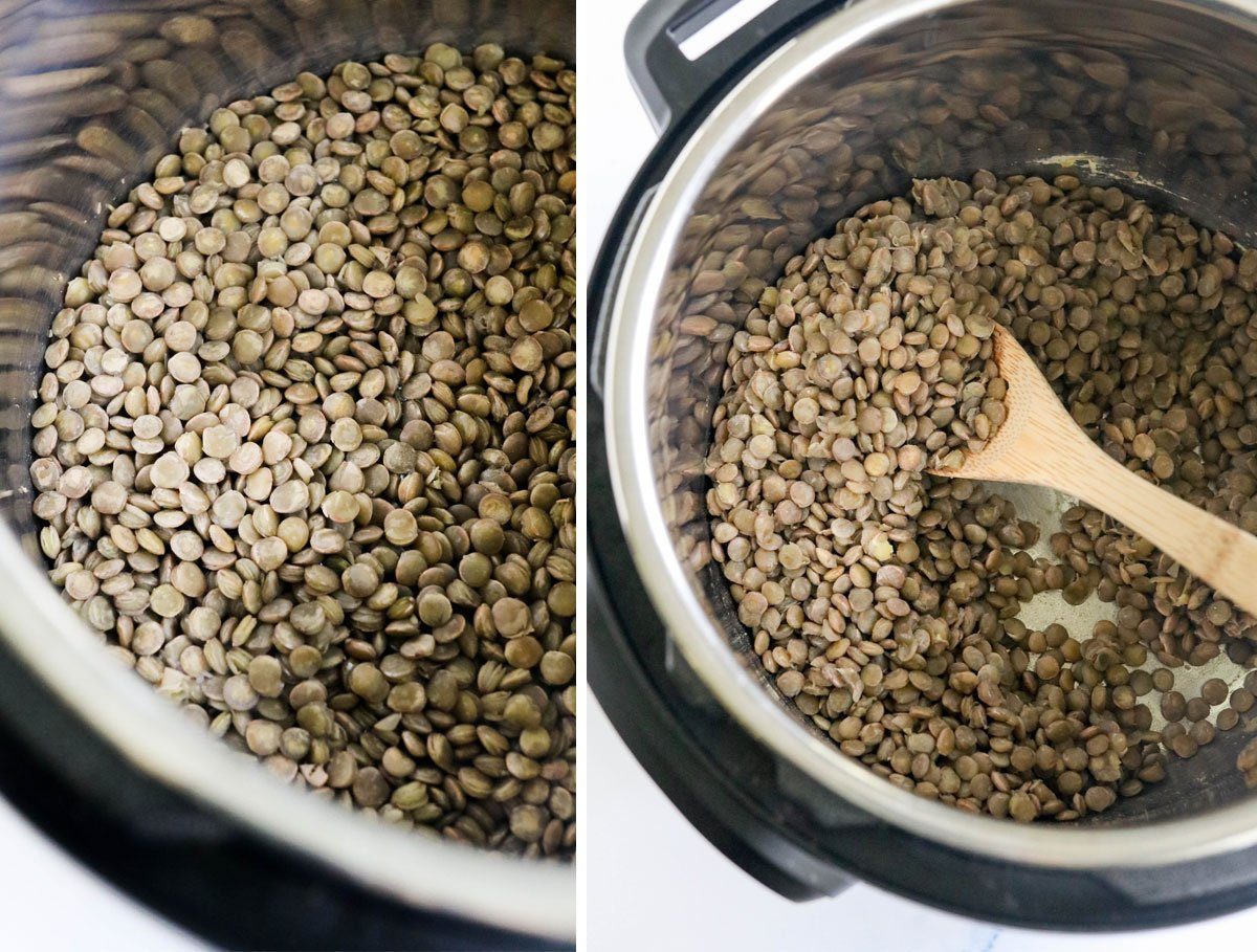 cooked green lentils in the Instant Pot