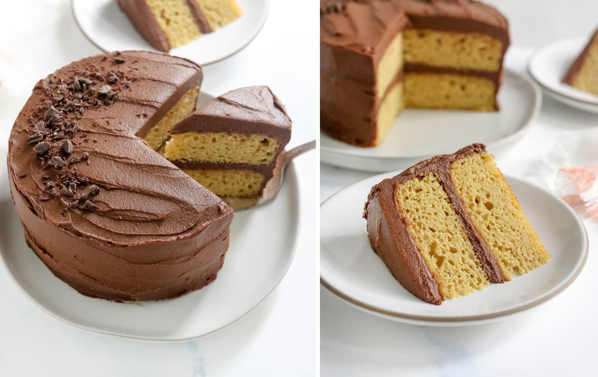 two photos of the 2-layer almond flour cake decorated with chocolate frosting