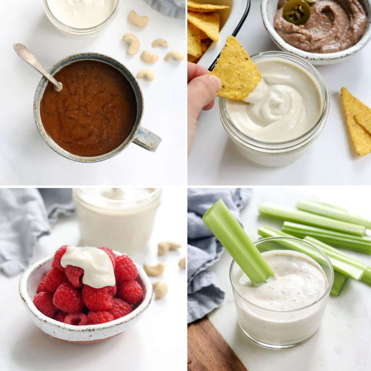cashew cream in coffee, with a tortilla chip, over raspberries, and as a ranch dip with celery