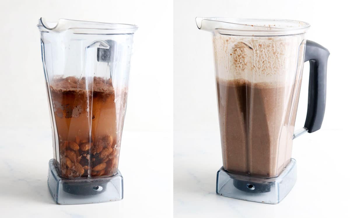 chocolate almond milk ingredients in blender, showing before and after blending