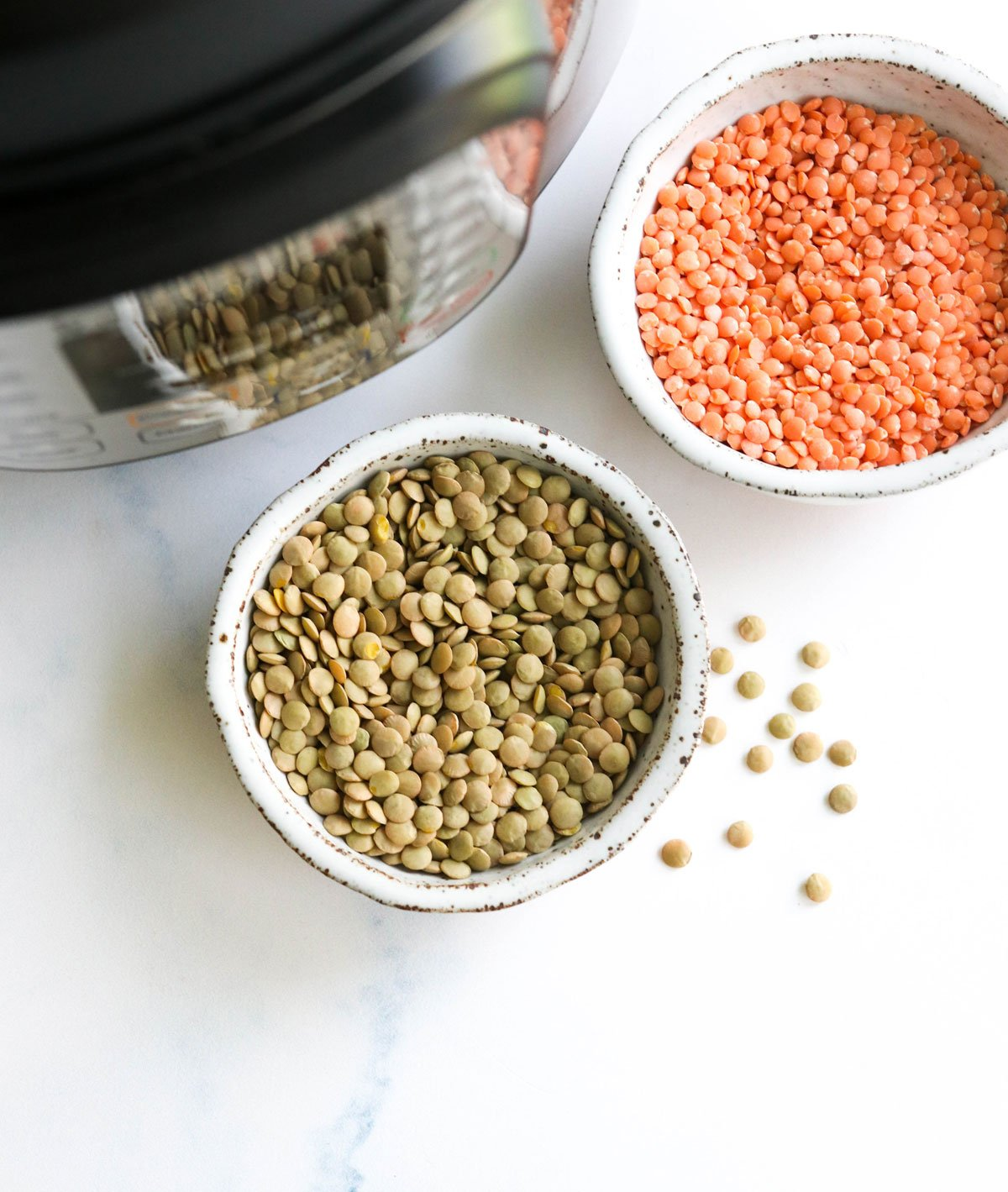 green and red lentils by the Instant Pot