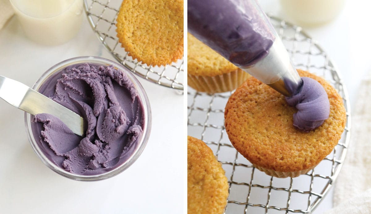 chilled purple frosting in piping bag