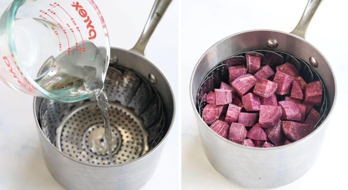 potatoes in a steamer basket in pot