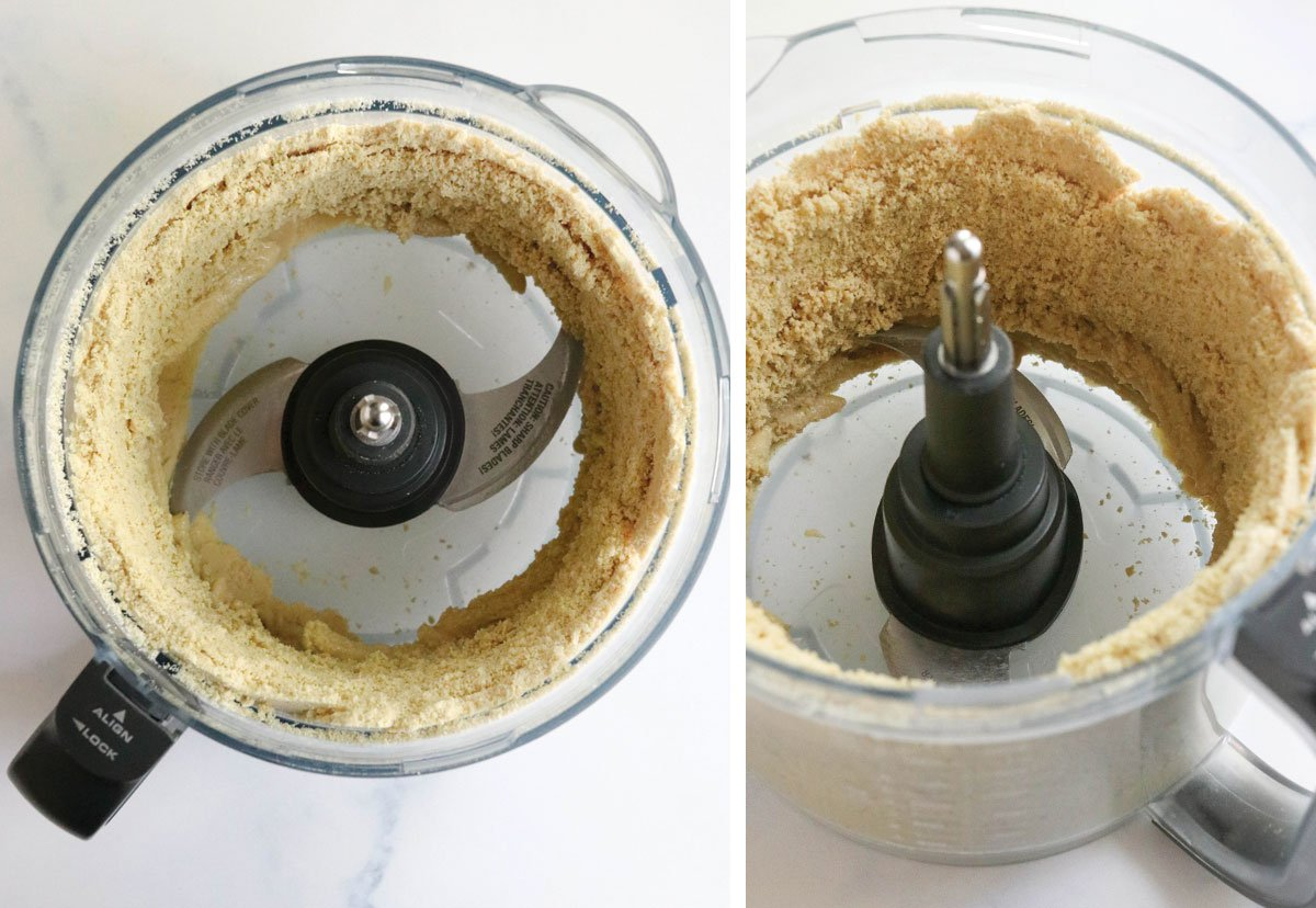 powdered cashews against the side of food processor