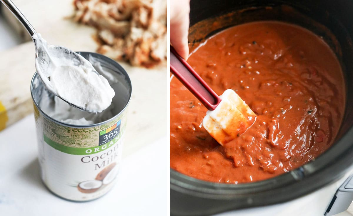 cashew cream in a can and added to the tomato sauce