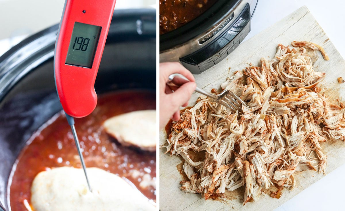 meat thermometer in chicken and shredded on cutting board