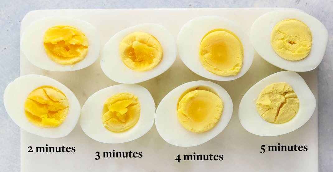 hard boiled eggs compared by cooking times