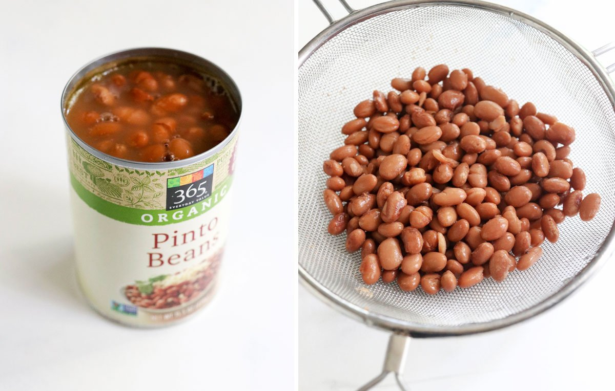 pinto beans in can and drained in a strainer