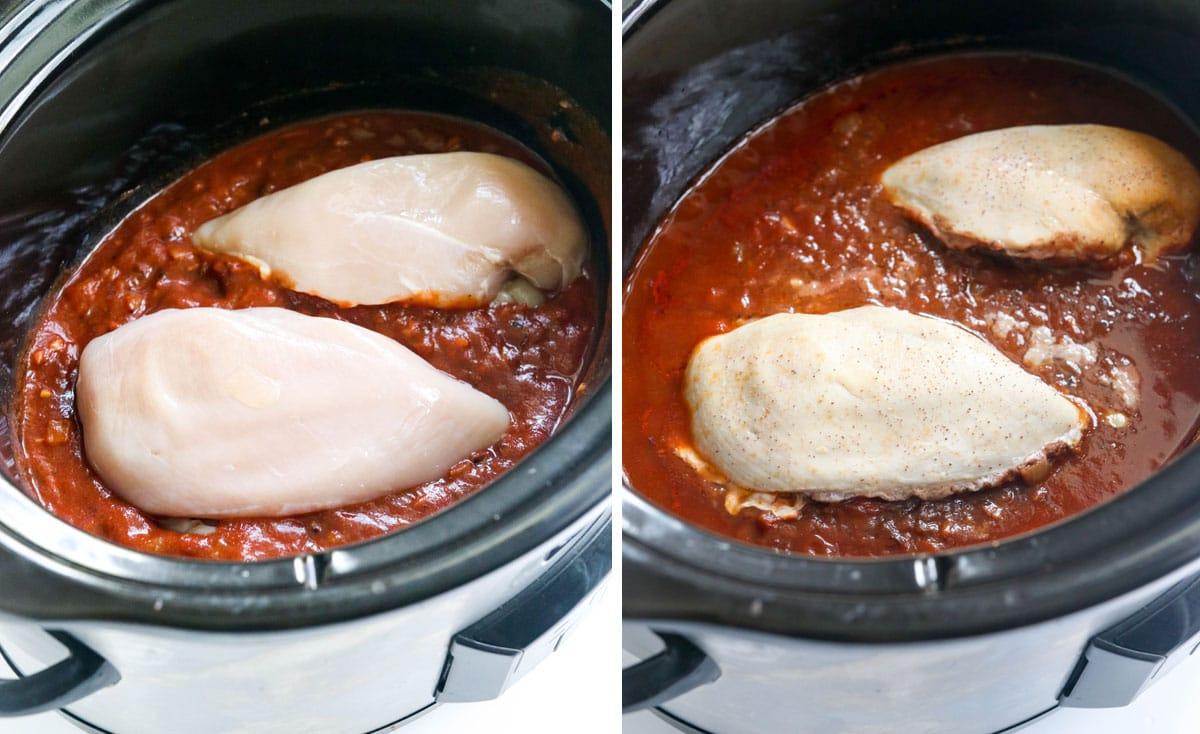 raw and cooked chicken in slow cooker