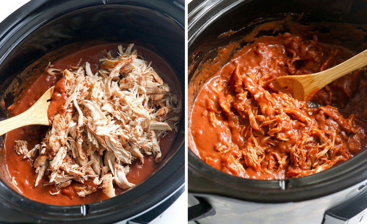 shredded chicken in slow cooker and stirred into the sauce