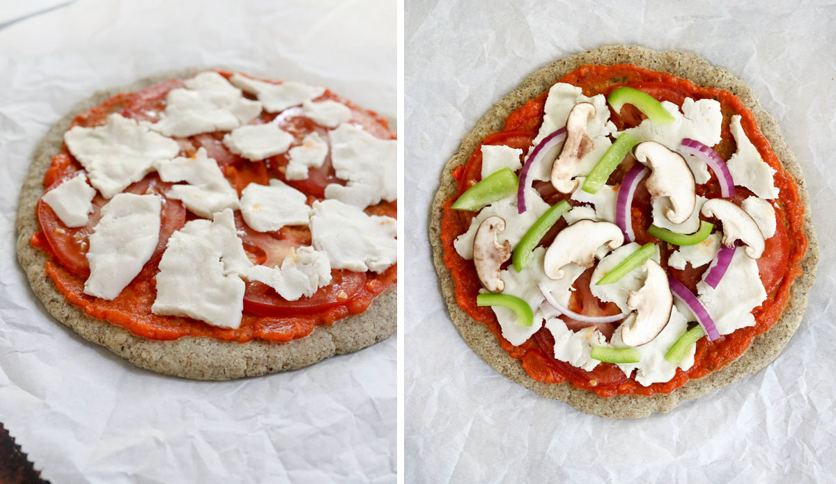 vegan pizza toppings added to the pizza crust