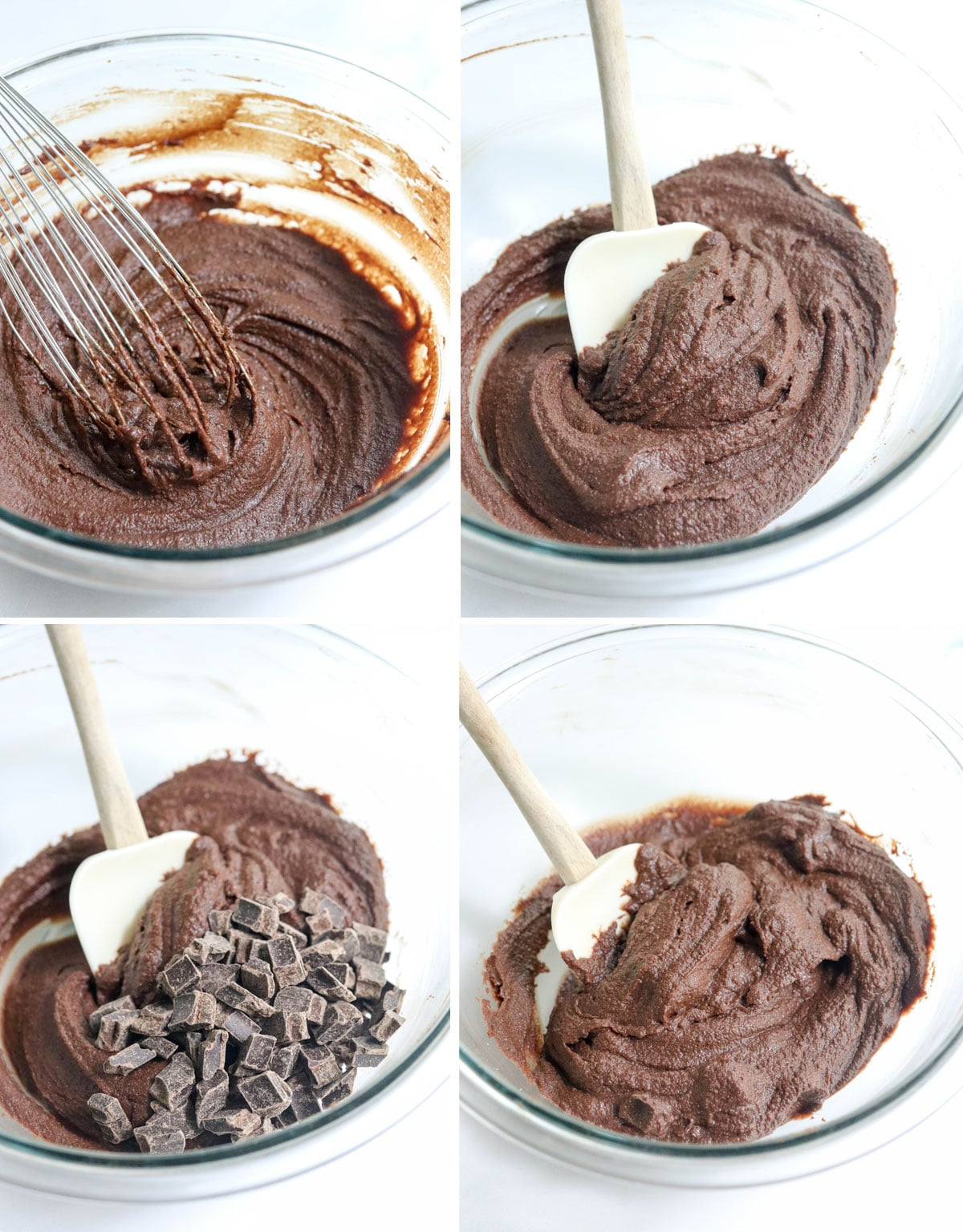 thick brownie batter with chocolate chips added