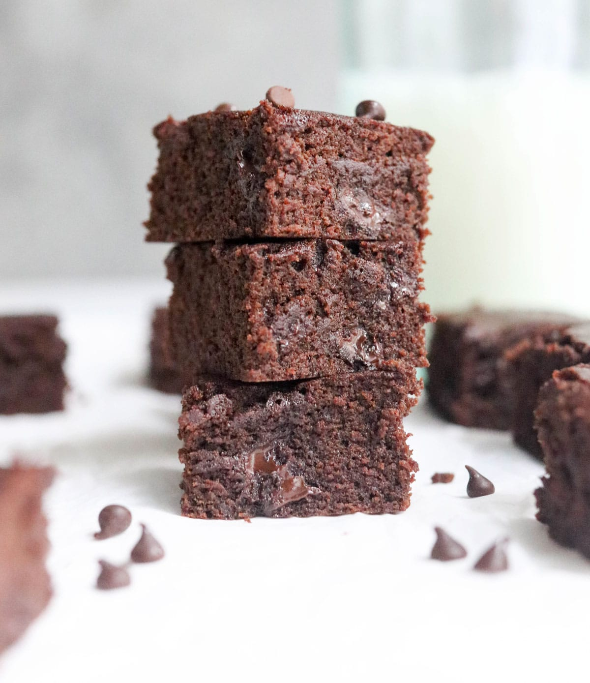 3 coconut flour brownies stacked