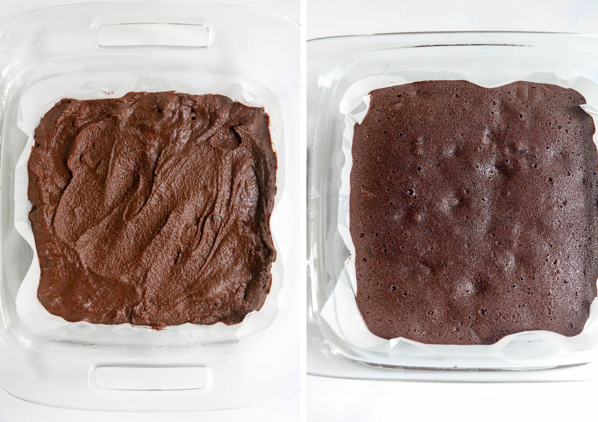 brownie batter in glass pan baked
