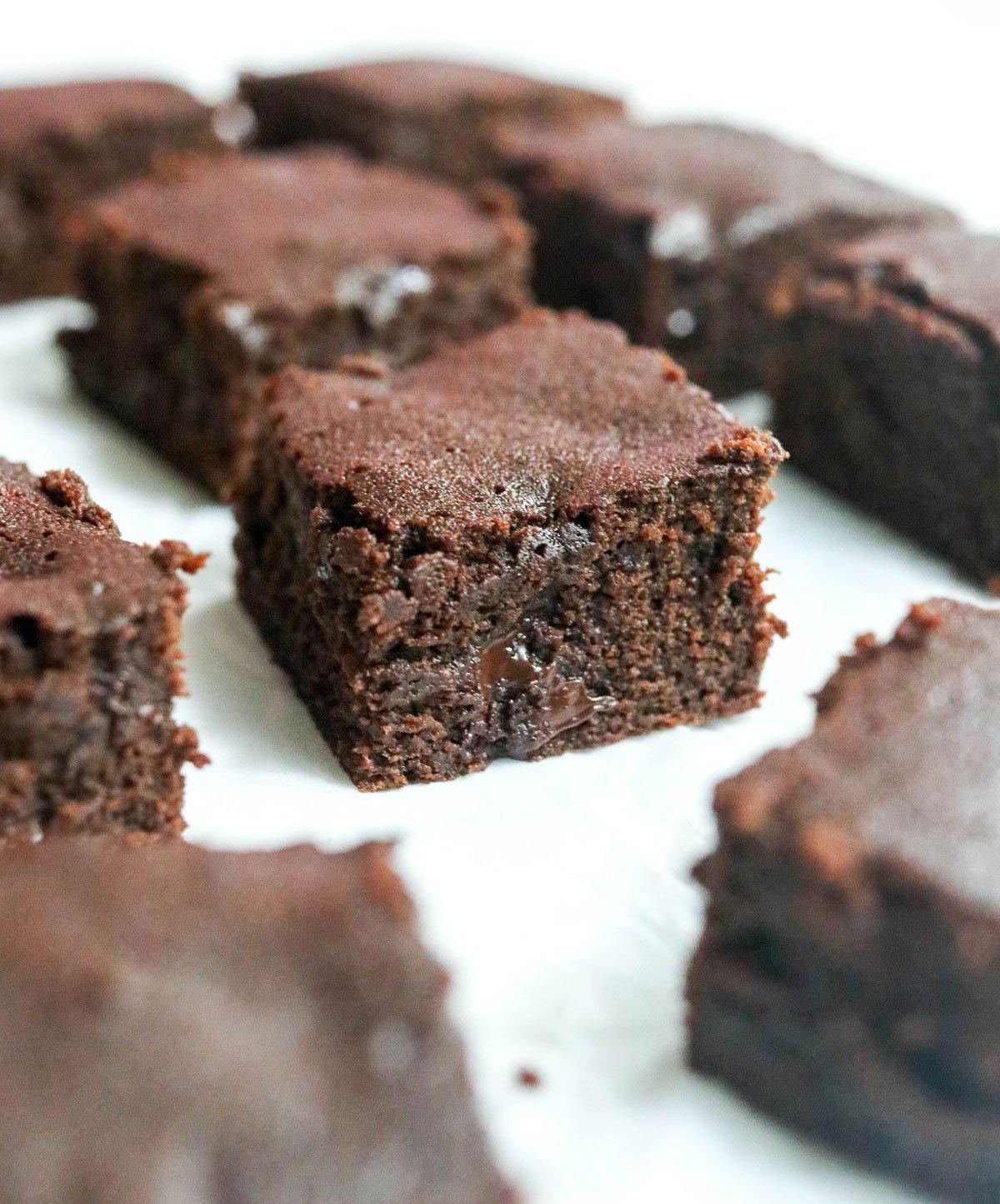 coconut flour brownie cut into squares