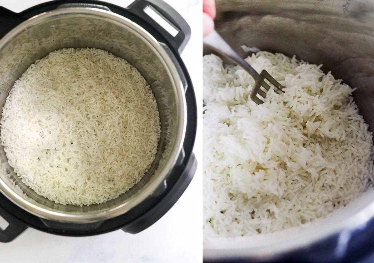 fork fluffing cooked rice in the pressure cooker