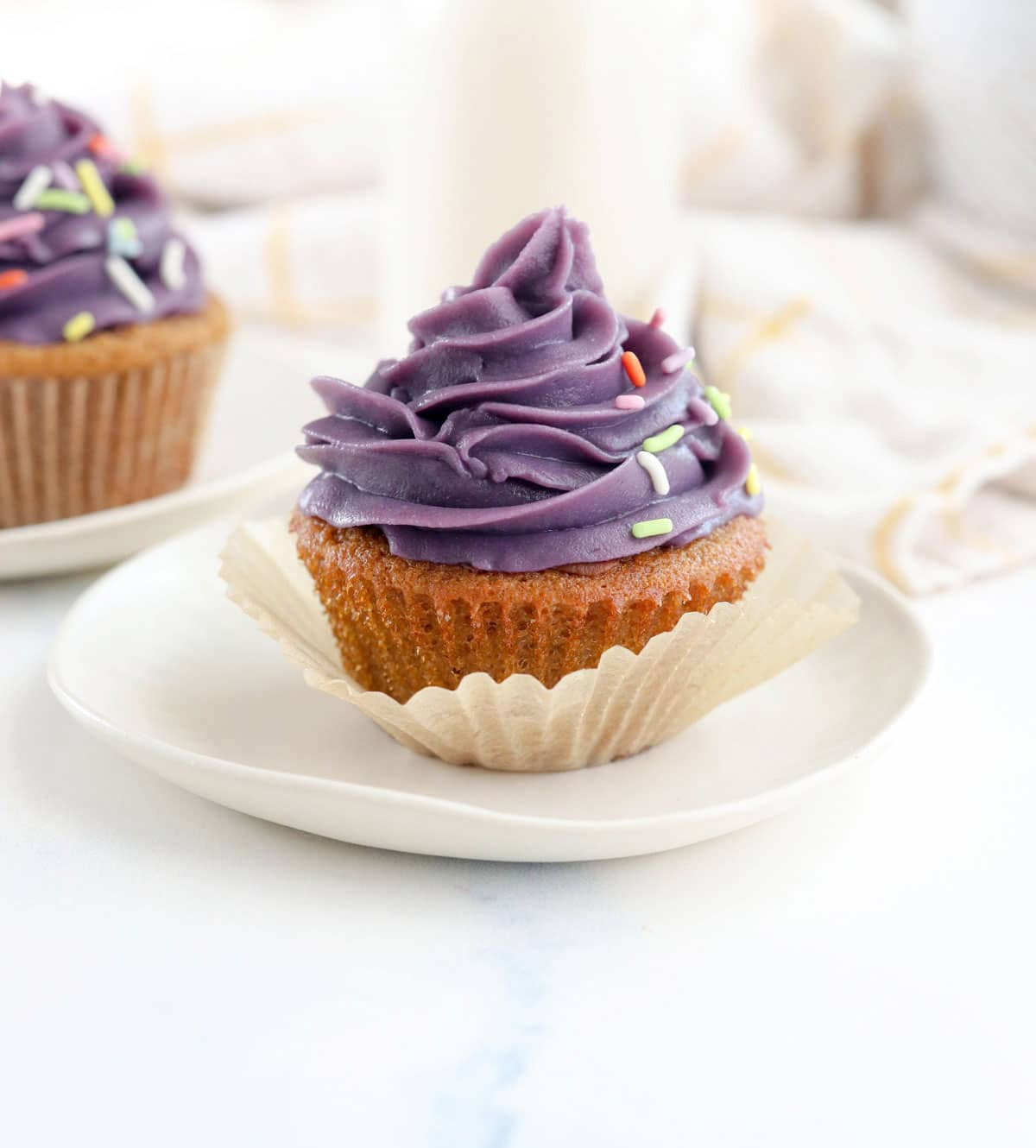 purple sweet potato frosting piped onto cupcake