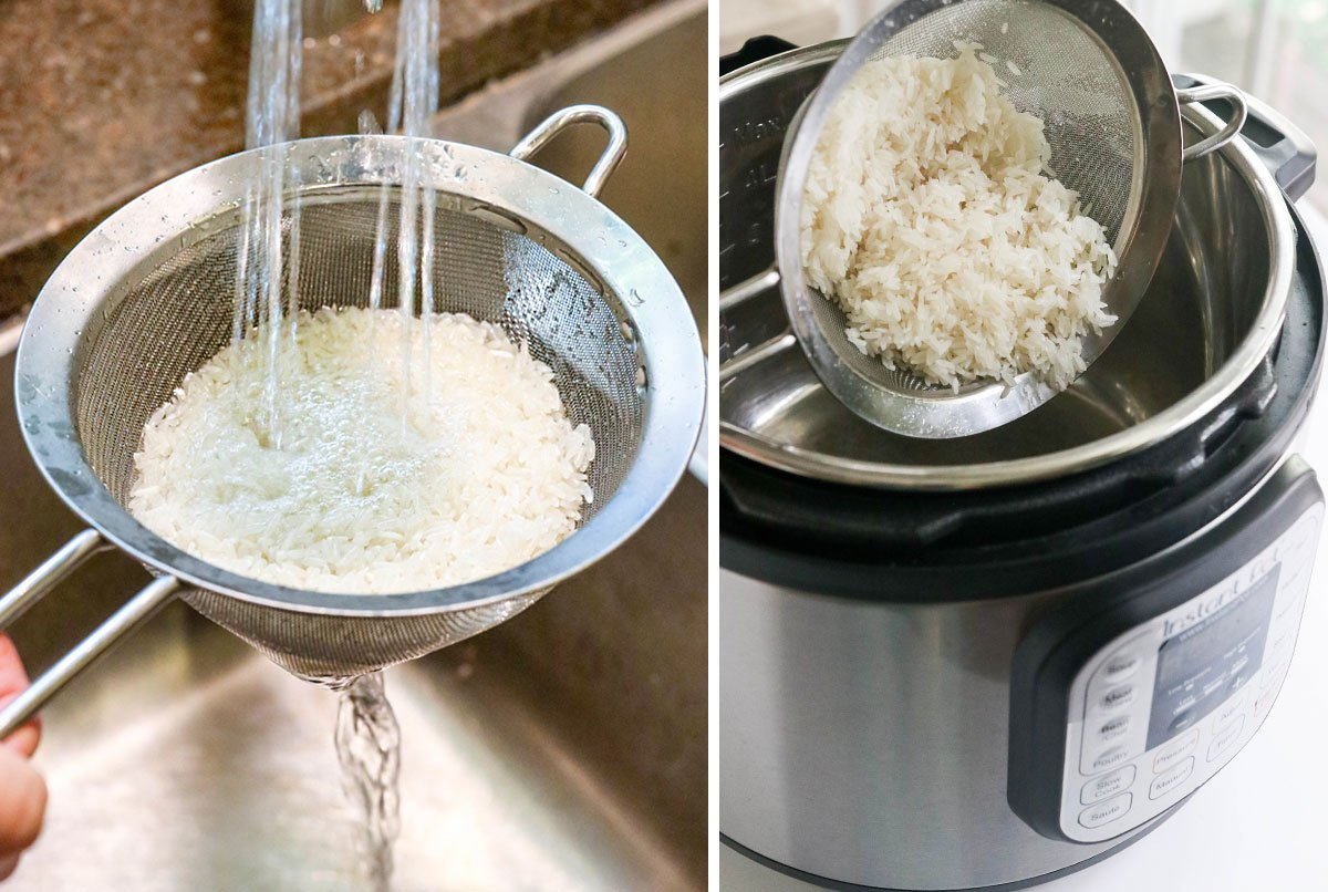 rinsing rice in strainer and adding it to pot
