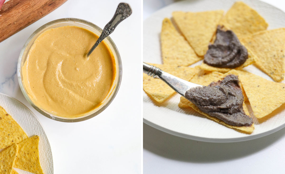 vegan cheese and bean dip going on chips