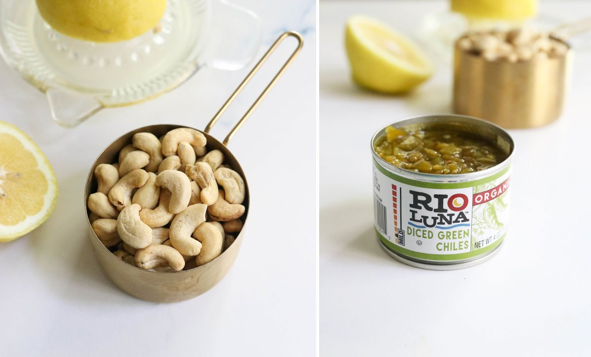 cashews and open can of green chilies