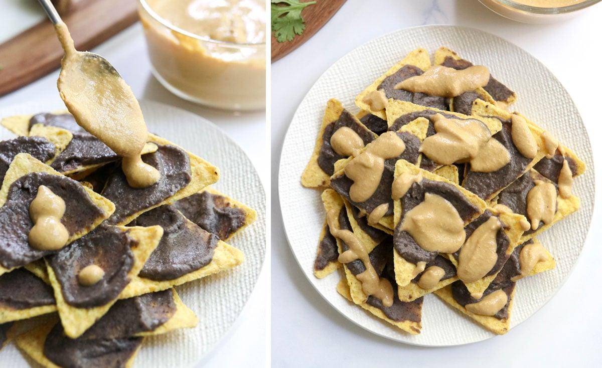 toppings added to vegan nachos