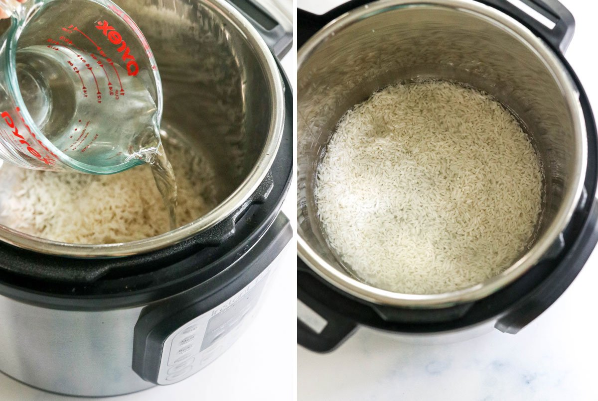 water and rice added to instant pot
