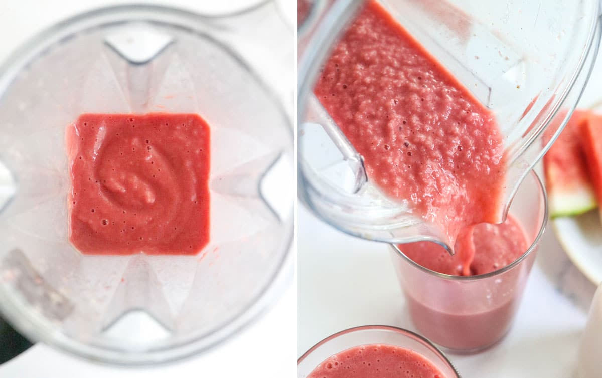blended watermelon smoothie in blender poured into glass