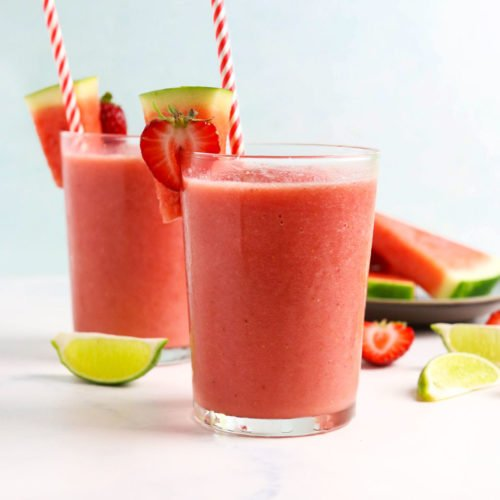 watermelon smoothies in 2 glasses