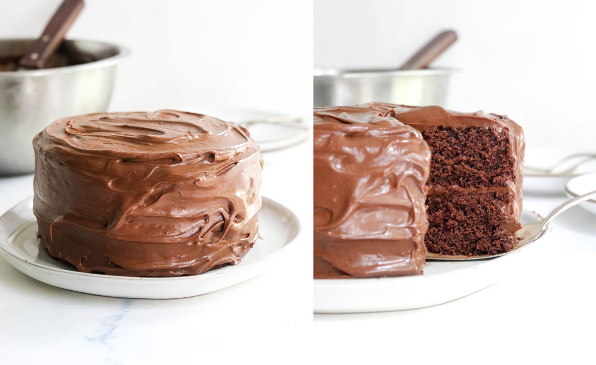 frosted 2 layer chocolate cake