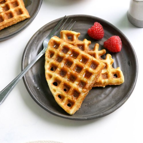 coconut flour waffles on two plates