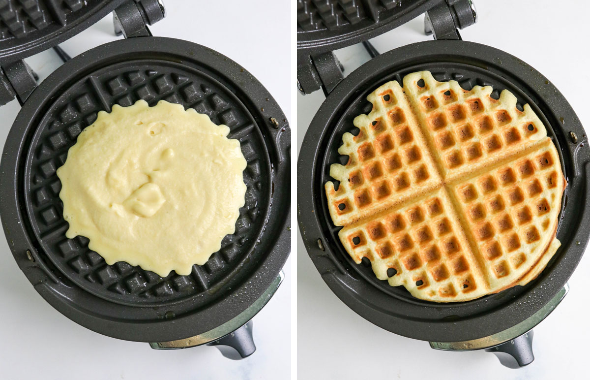 batter before and after in the waffle iron