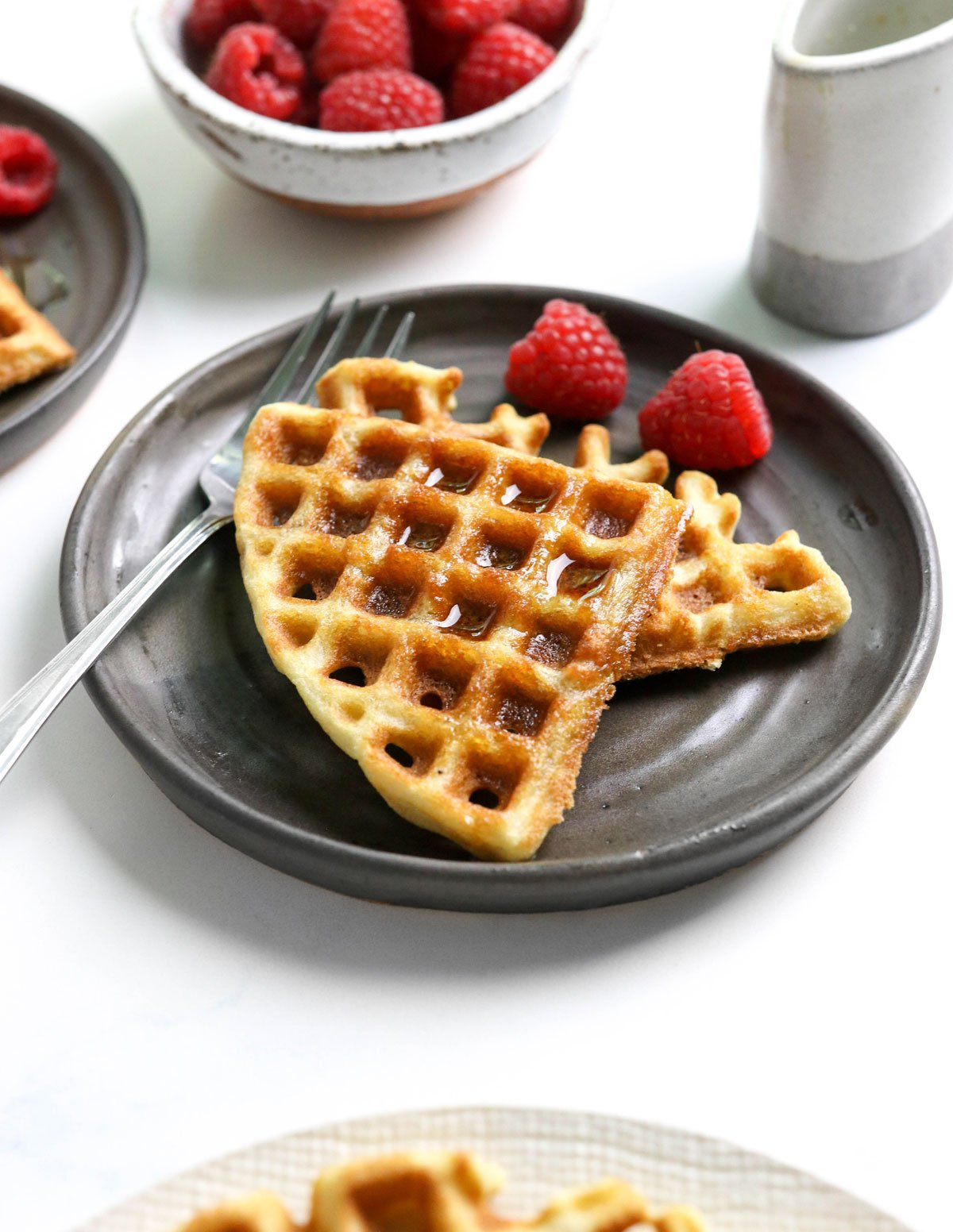 coconut flour waffles on dark plate