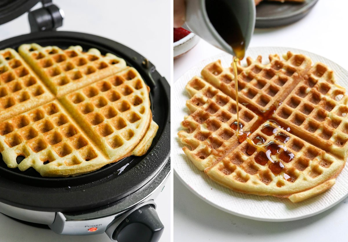 finished waffle with maple syrup