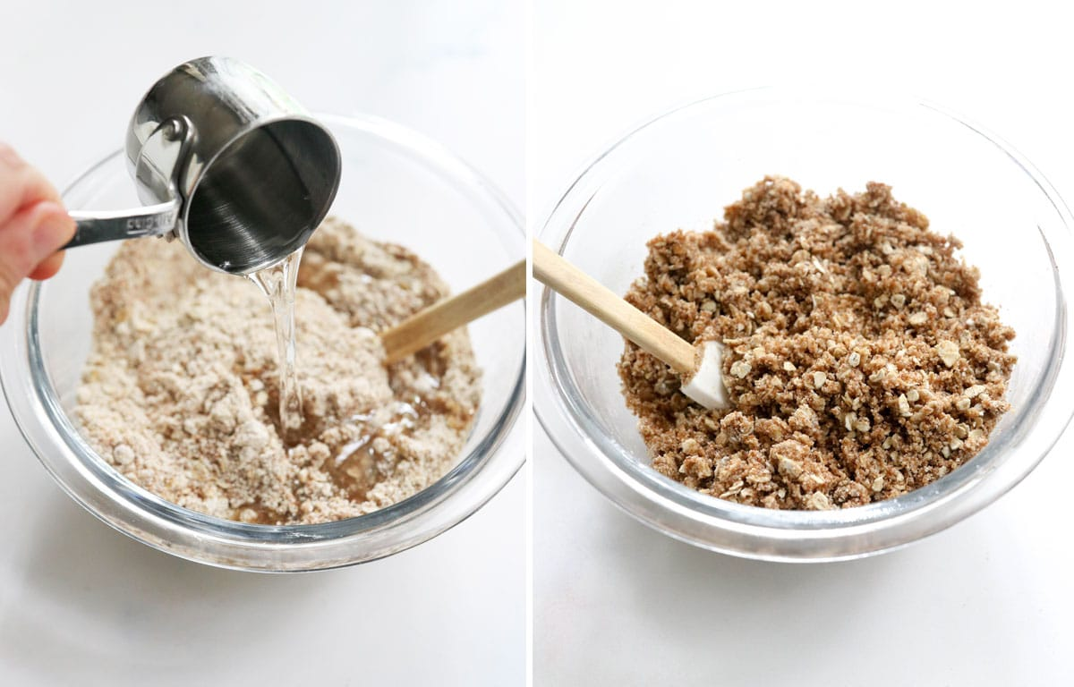 coconut oil added to bowl of oat topping