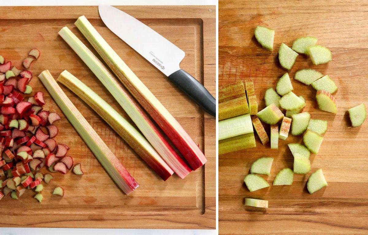 green rhubarb chopped on cutting board