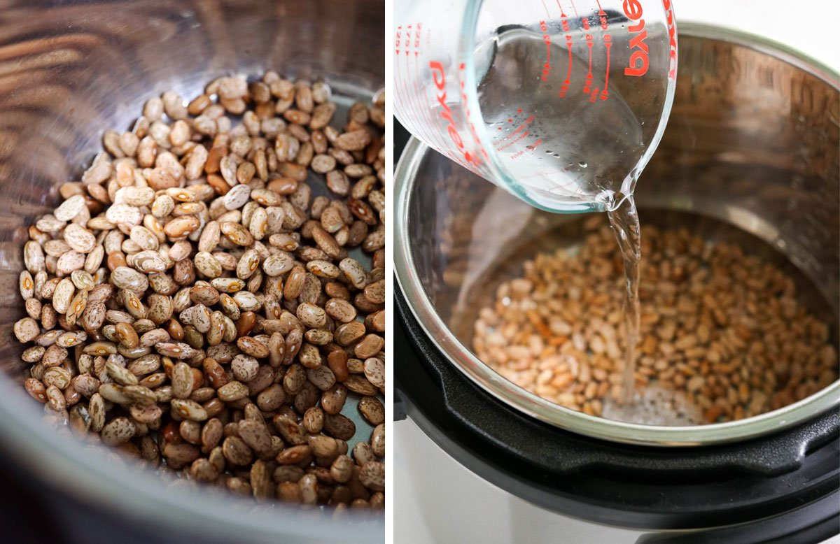 pinto beans and water added to Instant Pot