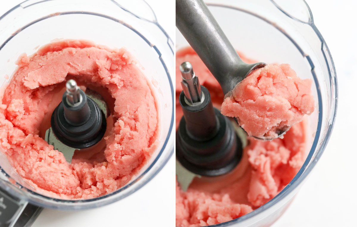 watermelon scooped from food processor