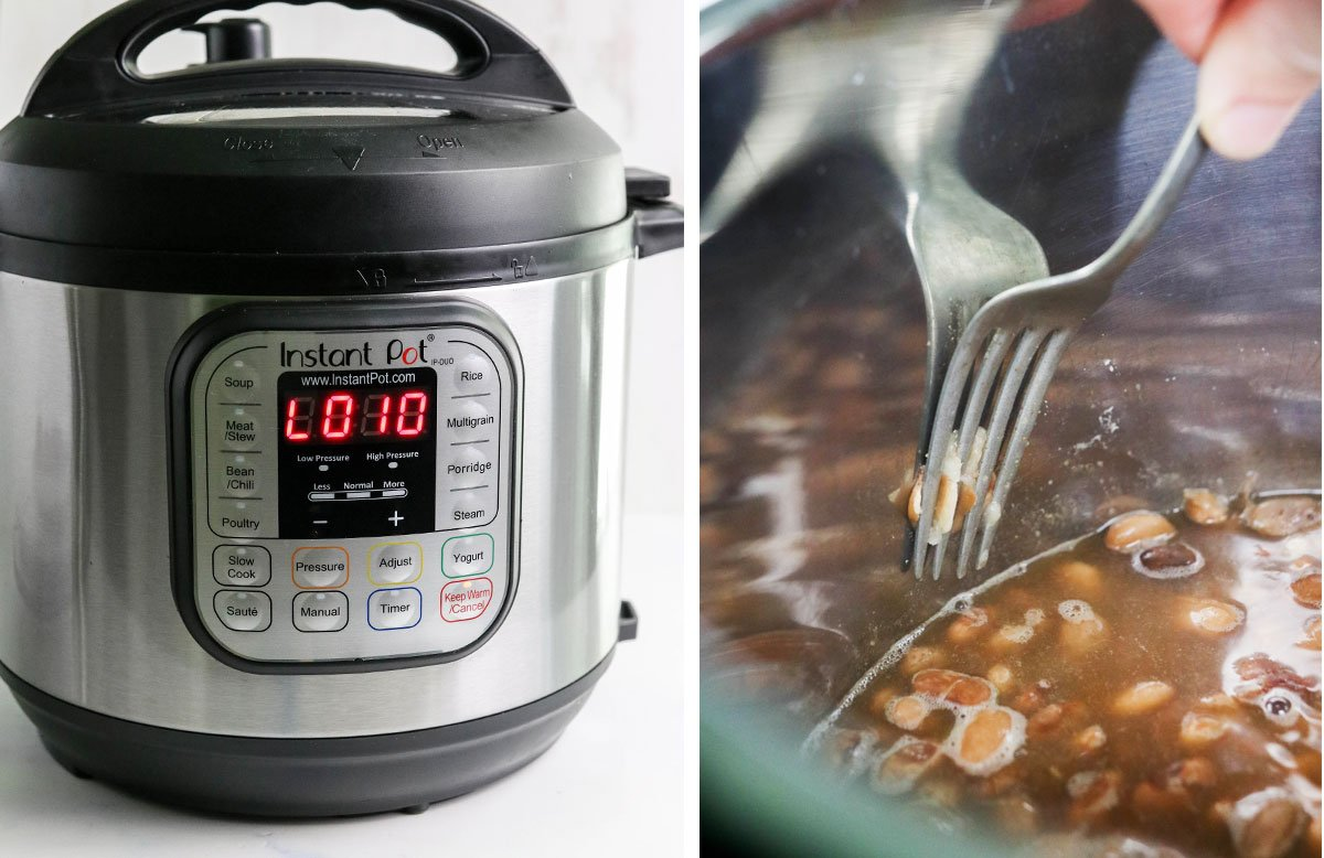 instant pot and a bean getting tested with a fork for tenderness