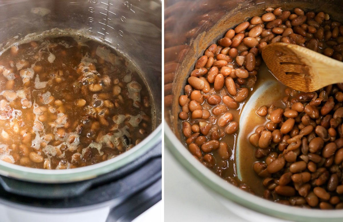 boiled bean liquid to get thicker sauce