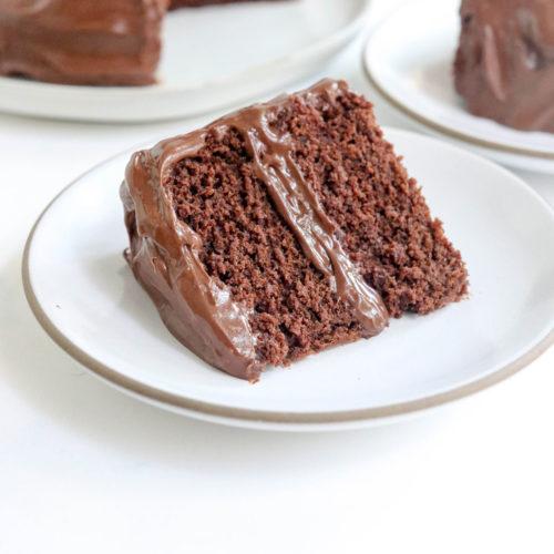 vegan gluten-free cake slice on white plate