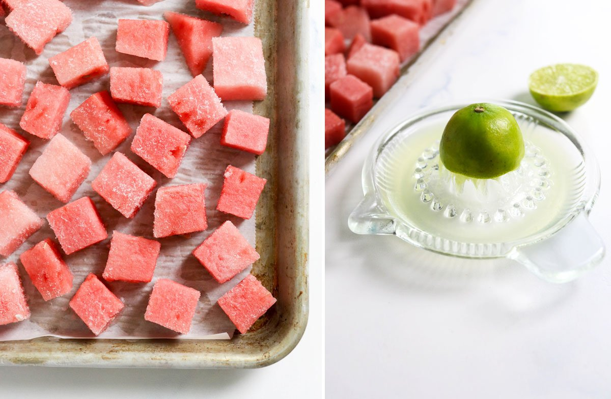 watermelon cubes on a pan