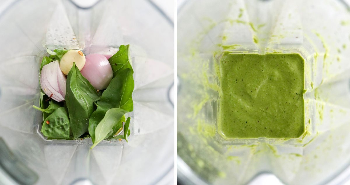 basil dressing ingredients in the blender