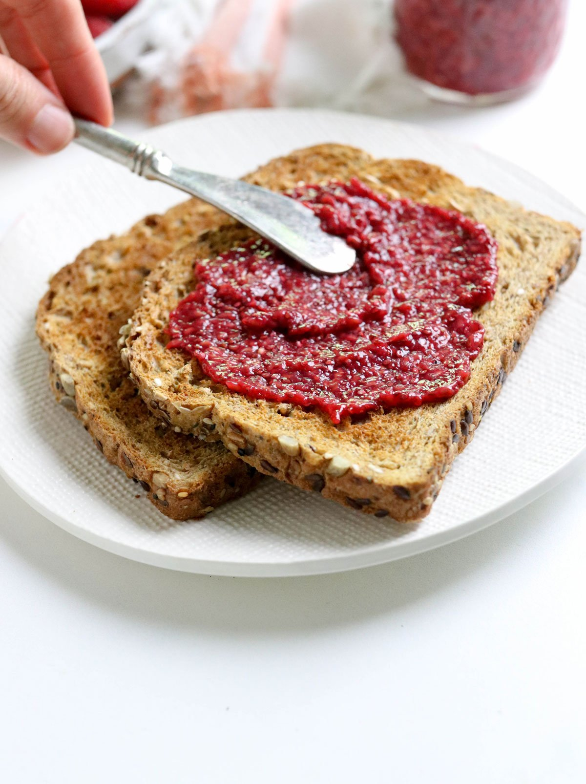 chia seed jam spread on toast